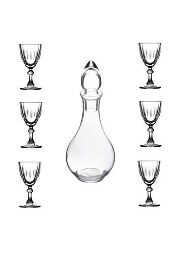 Paşabahçe Diamond Su Şişeli Ayaklı Kahve Yanı Su Bardağı 7Prç. 440113 Renksiz